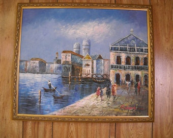 Oil painting of African seaport town