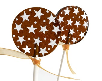 Party Favors, Teacher Gifts, Star Lollipops - Root Beer - 8 Lollipops  with Ribbon