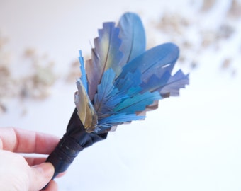 Blue Macaw Feather Mini Smudge Fan with Black Reclaimed Leather Wand