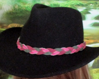 Custom made! Pink & Green Braided Leather Hat-Band,  Genuine Suede Leather Braided, Reversible