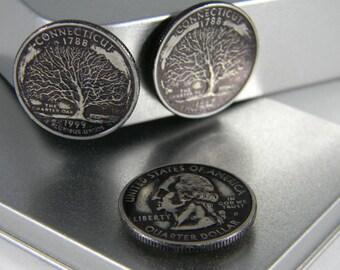 Connecticut State Quarter magnet set - State Quarter Coin Set - Patriotic Refrigerator Magnets - U.S. coin - Quarter Gift Tin - Set SQ07
