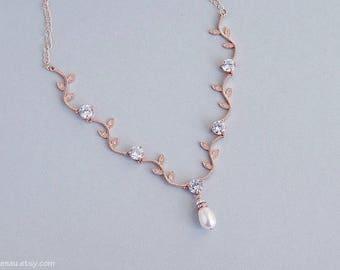 Crystal vine necklace, Rose gold bridal necklace, Vine wedding necklace CZ Zirconia vine leaf necklace Rose gold vine jewelry leaf branch