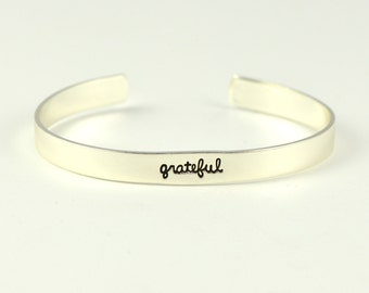 grateful bracelet | with gratitude | a grateful heart | hand stamped | thank you gift | babysitter gift | stamped jewelry | laurel denise