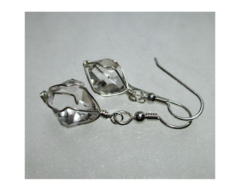 "ww1301 - 1/2"" Wirewrap HERKIMER DIAMOND EARRINGS - Argentium Sterling Silver"