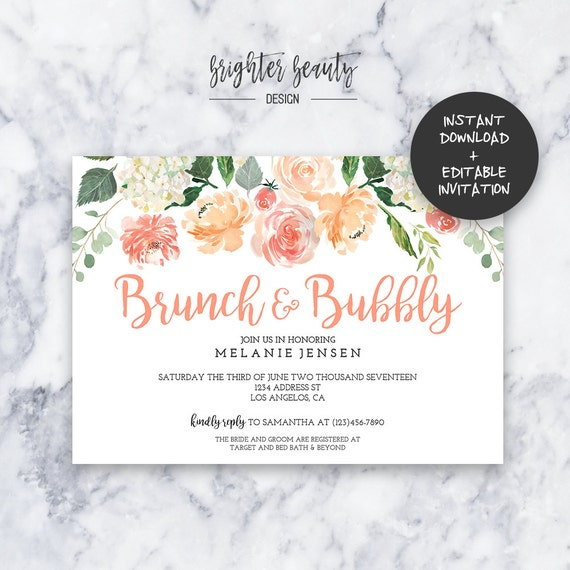 Brunch bubbly bridal shower invitation instant download brunch bubbly bridal shower invitation instant download editable pdf do it yourself printable solutioingenieria Images