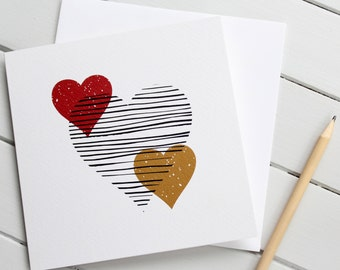 Love Heart Valentine Card Modern Scandi Romantic Gender Neutral Wedding Anniversary Red and Mustard
