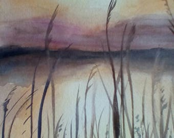 """Sunglow, is an original watercolor, done on archival paper, measures 9x11"""" and is unmatted and unframed."""
