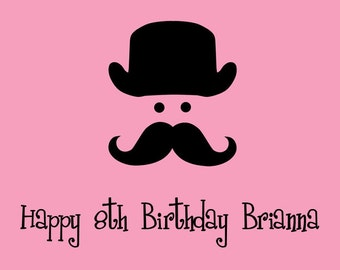Mustache Edible Cake Topper with FREE Personalization