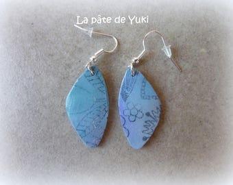 Triangular earrings blue purple black handmade polymer clay