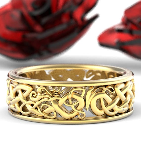 Gold Celtic Dragon Ring, Womens Wedding Band, Mens Wedding Band, 10K 14K 18K Gold Palladium or Platinum Dragon Jewelry, Custom Size 1172