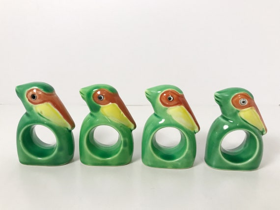 Vintage Made in Japan Green Art Deco Pelican Napkin Rings