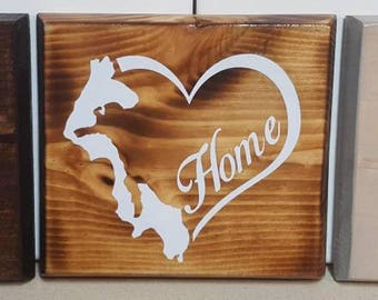 Whidbey Island Heart Wood Sign