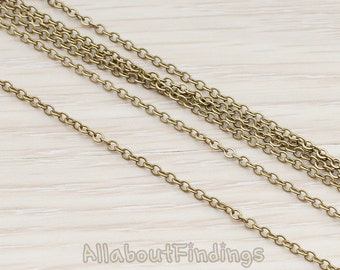 CHN001-AB // Antique Brass Plated Small Cable Chain, 1 Meter.