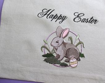 Handmade and Embroidered Linen Tea Towel, Happy Easter T Towel, Easter Bunny, Rabbit, Kitchen Towel, Heirloom Quality Handmand Tea Towel
