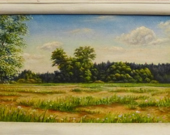 Meadow ORIGINAL OIL Painting, modern painting, sky art, Hand painted, sky wall decor, oil painting, meadow Landscape fine art, gift for her