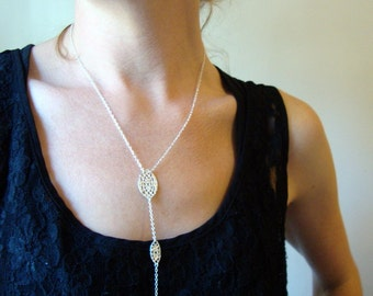 Long double lace drop necklace in sterling silver with pearl