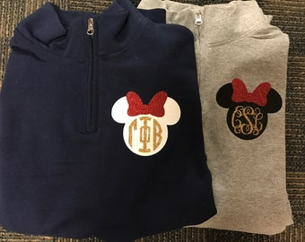 Disney Minnie Monogram Sorority Pull-Over Zip Up