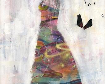 "Surreal Art Print - Mixed Media Art - ""White Girl"" by Black Ink Art"