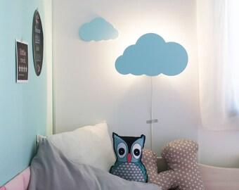 CLOUD NIGHT LIGHTu2013 Pastel Blue Cloud Shaped Led Wall Lampu2013Nursery /  Childrenu0027s