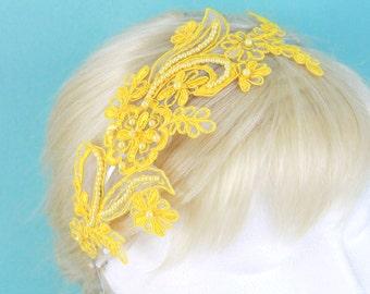 Yellow Pearl Beading Lace Headband , Bridal Yellow Headband, Bridesmaid Yellow Headband, Yellow Hair Band