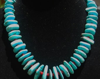 Graduated Turquoise and Coral Necklace