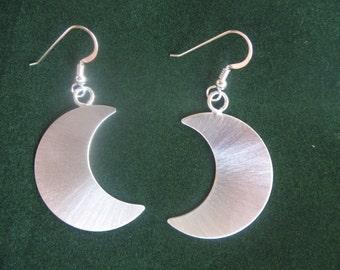 925 Crescent Moon Earrings, Stevie Nicks Crescent Moons, Sterling Silver, Handmade
