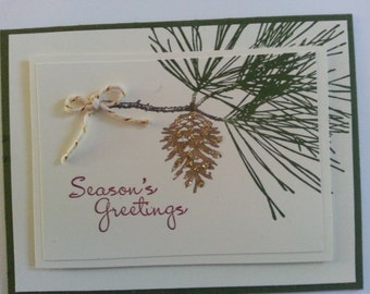 Pine Cone and Branch Christmas cards - set of ten