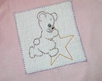 Size 18 Months Baby Sleeper - 18 Months Girls Sleeper - Pink Infant Sleeper - Vintage Teddy Bear Infant Sleeper - Vintage Embroidery Sleeper