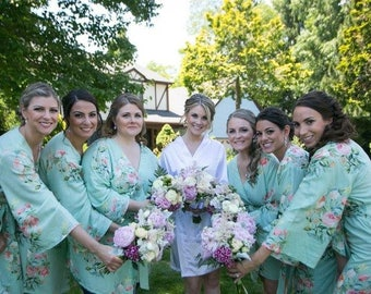 Premium Soft Mint Bridesmaids Robes - Dreamy Angel Song Pattern - Soft Rayon Fabric - Better Design - Perfect as getting ready robes