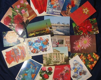 Set 20 Assorted Russian Standard Postcards - Altered Art - Assemblage - Scrapbooking - Smash Book – Collage