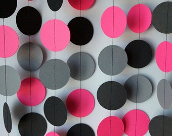 Dark Pink, Gray & Black Paper Circle Garland, Wedding, Bridal Shower, Birthday, Bachelorett Party, 10 feet long