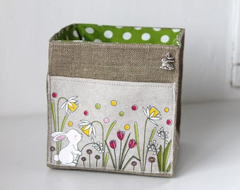 Small square linen illustrated White Rabbit basket