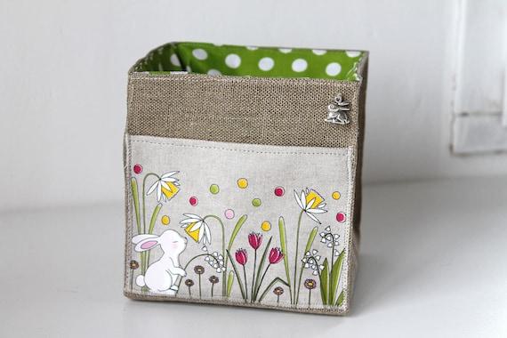 Small square linen illustrated White Rabbit basket