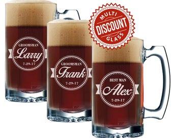 Groomsmen Beer Mug Set, Personalized Beer Mugs, Groomsman Beer Mugs Set, Usher Beer Glass, Best Man Mugs, Best Man Beer Mug, 12 oz Beer Mug