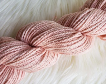 Naturally Dyed Organic Cotton, Worsted Weight Yarn, Madder Root Botanical Dye, Peachy Pink, Vegan Yarn 164 yds 3.5 oz
