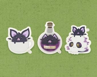 Bat and Poison Sticker, cute sticker, skull sticker, fun sticker, Bat lover, kawaii sticker