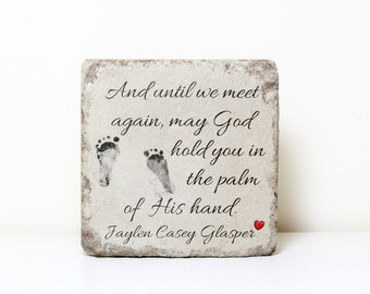 ACTUAL FOOTPRINTS Memorial Stone. PERSONALIZED Gift. 6x6 Tumbled Concrete Paver. Baby Remembrance Stone. Stillborn or Infant Loss Memorial