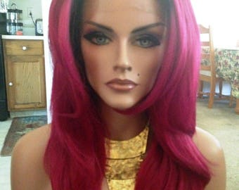 Free Shipping - French Lace Front Wig - 100% Human Blend - Ombre with Red Velvet - Layered - Straight Styled