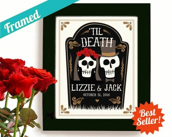 Skull Wedding Gift Decor, Halloween Personalized Art Day of the Dead Tombstone Newlywed Gift Tattoo Couple Framed Art Print Anniversary Gift