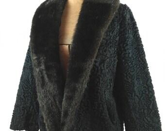 1950s Persian Lamb Jacket - Vintage Faux Persian Lamb - Vintage Faux Fur Jacket - Persian Lamb Jacket - 1950s Fashion - Vintage Faux Fur