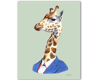 Giraffe art print by Ryan Berkley 5x7