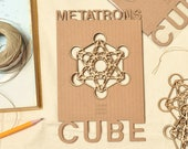 """Sacred Geometry Wood Ornament, Metatron's Cube, Unique Gift, Ready to Hang 4"""" x 4"""""""