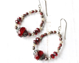 Red hoop earrings, Red and Grey Earrings, Red Beaded Hoop Earrings, Beaded Hoop Earrings, Boho style, dangly earrings, vintage inspired