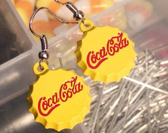 Yellow and Red Coca Cola Earrings