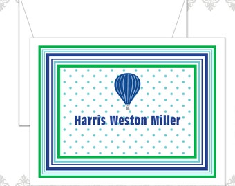 Hot Air Balloon Stationery Set of 10 with envelopes, Modern Hot Air Balloon Cards, Personalized Children Note cards, Polka Dots and Stripes