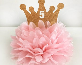 Crown Centerpiece Pom, Tiara Centerpiece, Princess Birthday Decoration, Princess Centerpiece, Custom Princess Cake Topper, Princess