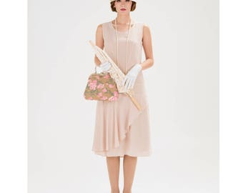 Nude jazz age flapper dress with a ruffled skirt detail, 1920s dress,  Great Gatsby party dress, Downton Abbey dress, 1920s bridesmaid dress