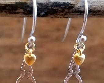 Sterling Silver Idaho Outline Dangle Earrings with 18K gold heart