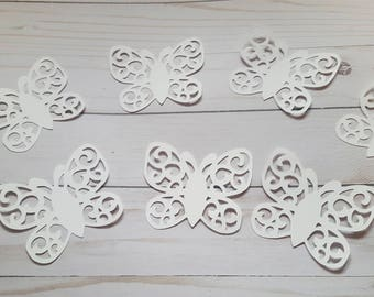 Paper butterfly die cuts  white butterfly cutouts  butterfly confetti white butterfly white party Lacy paper butterflies