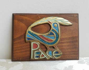 Vintage Peace Dove Bird Brass Enamel Wood Wall Art Plaque, Terra Sancta Guild 1967, Mid Century Modern Inspirational Bohemian Hippie